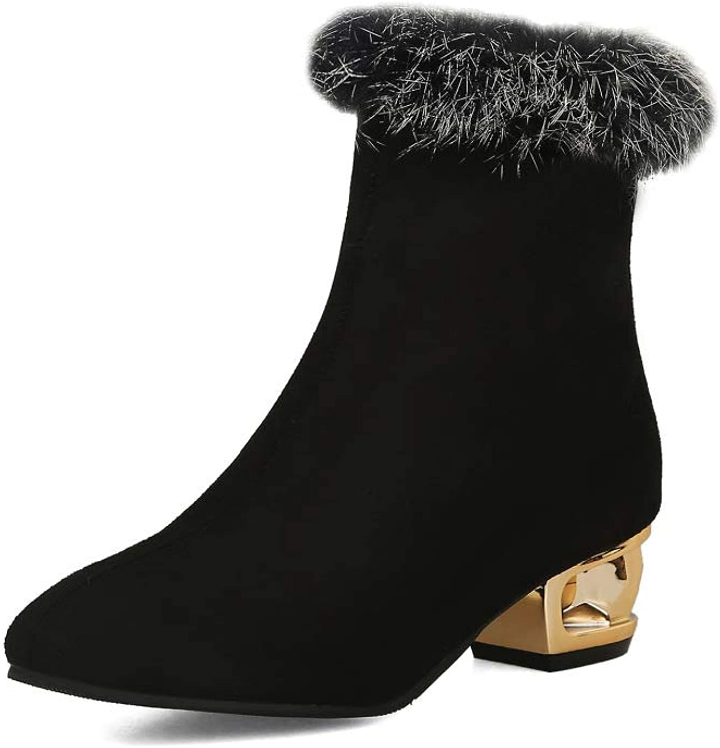 Women Simple Suede Ankle Boots 2018 Autumn Low Heel Plush Martin Boots Large Size 3348
