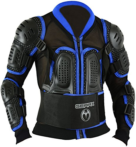 Kinder Motocross Rüstung Rücken Motorrad Schutz Jacke - Blau, L
