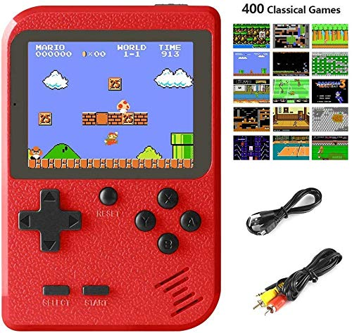 Allnice Handheld Game Console, Retro Mini Game Player with 400 Classical Games 3 Inch HD Screen, Support for Connecting TV and Two Players 800mAh Rechargeable Battery, Present for Kids and Adult