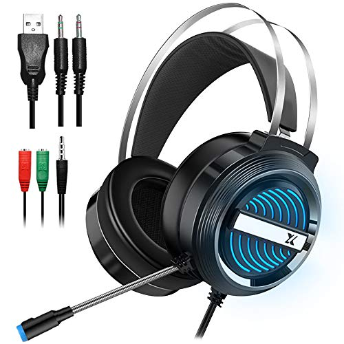 Gaming Headset with Mic and Changeable LED Light for Laptop Computer, Cellphone, PS4 and so on, DLAND 3.5mm Wired Noise Isolations Gaming Headphones- Volume Control.