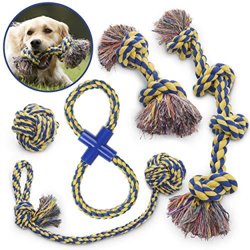 MAS - Cuerda de Juguete para Perro, Set de 5 piezas, EXTRA GRUESA Calidad duradera, 100% ALGODÓN NATURAL, Para Perros Medianos-Grandes Extragrandes.