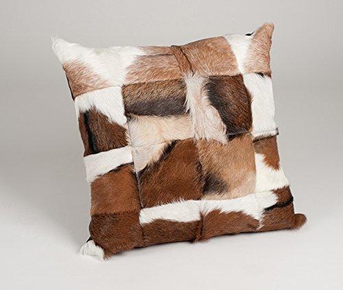 Amaris Elements   'Claudio' Modernes Fell-Kissen aus echtem Ziegenfell - weißes Leder und Naturfarben 60x60 cm