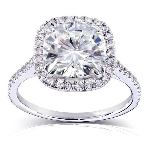 Kobelli Cushion-cut Moissanite Engagement Ring 3 CTW 14k White Gold (8.5mm), Size 8, White Gold