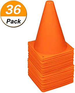 [ 36 Pack ] 7 Inch Plastic Traffic Cones Sport Training Traffic Cone Sets Field Marker Cones for Skate Soccer Indoor/Outdoor Agility Training & Festive Events Physical Education Flexible - Orange