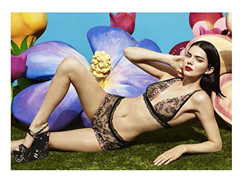 LGXINGLIyidian Modell Mode Leinwand Malerei Kardashian Kendall Jenner Kleid Sex Kleid Gesellschaft Lady Unterwäsche Königin Mädchen Wandkunst Poster Kp61 40X60Cm