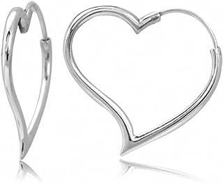 Silvershake White Gold Plated 925 Sterling Silver Heart Shape Hoop Earrings