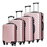 4PC 18-28 Inch Hardshell Luggage ABS Luggages Sets With Spinner Wheels Hard Shell Spinner Carry On Suitcase (Rose Gold, 4 PCS)