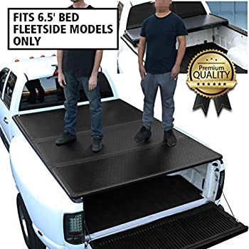 DNA Motoring TTC-HARD-038 Truck Bed Top Hard Solid Tri-Fold Tonneau Cover Compatible with 2014-2018 Silverado Sierra W/ 6.5Ft Fleetside Bed