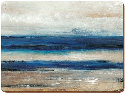 Creative Tops Ocean View Extra große Premium-Tischsets aus Holz mit Korkrückseite und abstraktem Motiv, 40 x 29 cm (15¾ x 11½ Zoll)