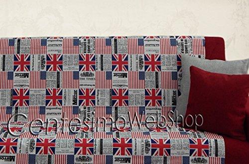 Centesimo Web Shop Telo ARREDO COPRITUTTO 2 Misure Prodotto in Italia Gran Foulard Multiuso Tuttofare COPRIDIVANO COPRIPOLTRONA - Citta' UK America Bandiere New York - 250x290 cm Rosso