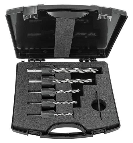 ENT 26515 5-tlg. HSS-G Bohrer-Versenker-Set 4 5 6 8 10 mm - geschliffener HSS-Holzsprialbohrer - im Kunststoffkoffer