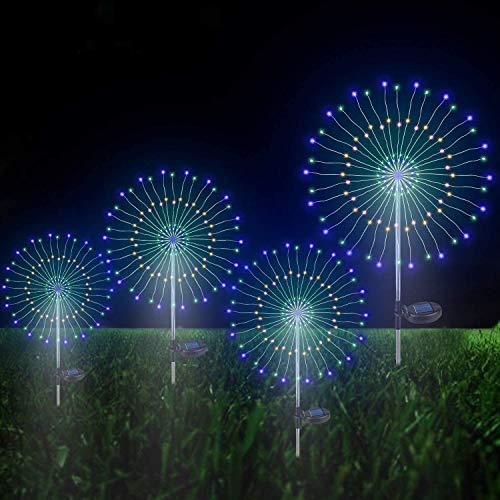 Garden Solar Firework Lights Outdoor, 4Pack Fireworks Light 105 LED 35 Copper Wires Waterproof String Landscape Starburst Light Decoration for Home Walkway Pathway Backyard Party(Muti-Colorful)