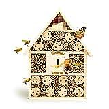 bambuswald© Hôtel à Insectes Bois - Abri Insectes 28.5 x 9 x 39 cm | Maisonnette Matériaux Naturels - Abeille Coccinelle Papillon et Autres Insects Volants