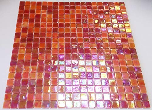 Mosaik-Netzwerk Mosaikfliese Quadrat mix rot Glas irisierend Perlmut oriental Fliesenspiegel, Mosaikstein Format: 15x15x4 mm, Bogengröße: 317x317 mm, 1 Bogen/Matte