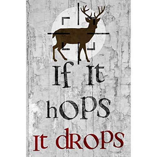 Dafony Cartel de metal para pared con texto en inglés 'If It Hops It Drops' para colgar en la pared, diseño retro