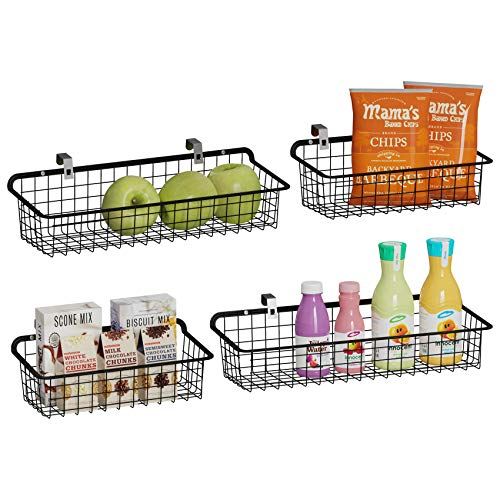 GSlife Wall Baskets, Wall Mount Wire Baskets Metal Wall Hanging Baskets with Hooks for Kitchen Bathroom Office Bedroom Garage, Black