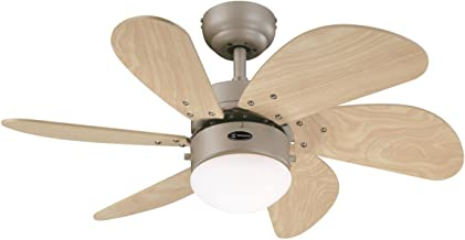 Westinghouse Lighting 78158 Turbo Swirl One 76 cm Six Indoor Ceiling Fan, Opal Frosted Glass, Wood, Titanium Finish with L...