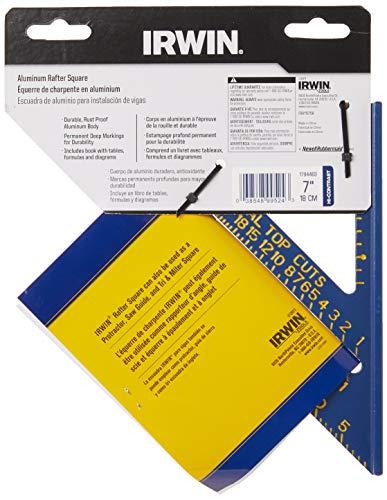 IRWIN Tools Rafter Square, Hi-Contrast Aluminum, Blue , 7-Inch (1794463)
