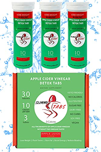 Worlds First Apple Cider Vinegar Detox and Weight Loss Effervescent Tablets by SlimmyTabs - Natural Ingredients, Organic, Vegan, Gluten-Free, Unfiltered with The Mother Tablets | Apple Juice Flavor