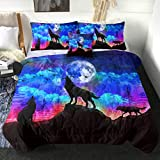 Sleepwish Galaxy Comforter Twin Men 3D Wolf Bed Comforter Set 4 Piece Wolves Howling Bedding for Boys Retro Oil Painting Design Purple Blue and Black