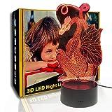 JINYI 3D Luz nocturna Thrones Dragon Shape, lámpara de ilusión óptica LED, C- Touch Crack Blanco (7 colores), Lámpara de ilusión, Decoración de la habitación