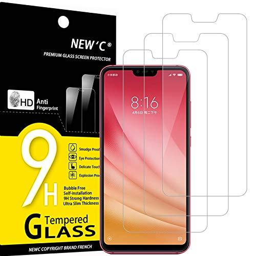 NEW'C 3 Unidades, Protector de Pantalla para Xiaomi Mi 8 Lite, Mi 8X, Antiarañazos, Antihuellas, Sin Burbujas, Dureza 9H, 0.33 mm Ultra Transparente, Vidrio Templado Ultra Resistente