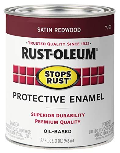 Rust-Oleum 7767502-2PK Stops Rust Brush On Paint, Quart (2 Pack), Satin Redwood