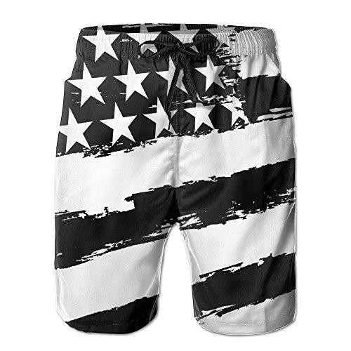 Herren Baseball-Shorts mit USA-Flagge, schnelltrocknend, Boardshorts für Schwimmen, Surfen, Sportler, Strand - Wei� - Medium