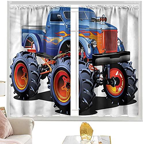 Cortinas opacas para barra de cortina Man Cave, Monster Truck enormes neumáticos de 52 x 63 pulgadas de ancho