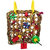 Straw Braid Rope Climbing Net Hammock Bird Foraging Toy for Parrot Budgie Parakeet Cockatiel Conure Lovebird Finch Canary Cockatoo African Grey Macaw Eclectus Amazon Cage Perch Stand