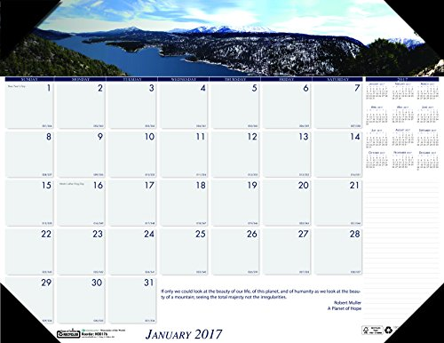 "House of Doolittle 2017 Monthly Desk Pad Calendar, Earthscapes Mountains, 22 x 17"" (HOD176-17)"