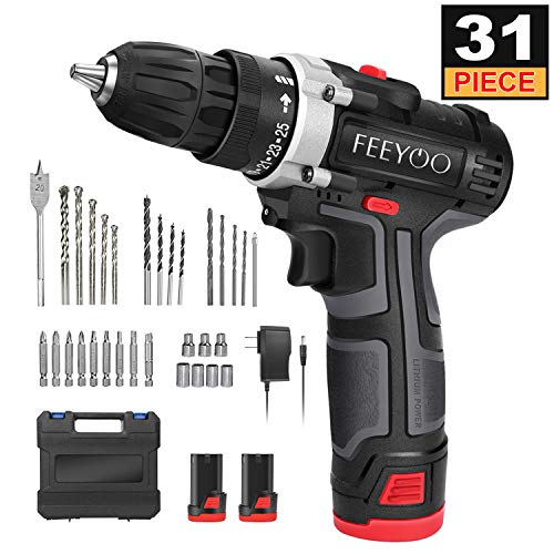 Cordless Drill,12.8V 28Nm Cordless Electric Drill Set(31Accessories 2x3900mAh Li-ion Batteries, 2 Speeds and 25+1 Torque Settings, LED Light) Professional for DIY