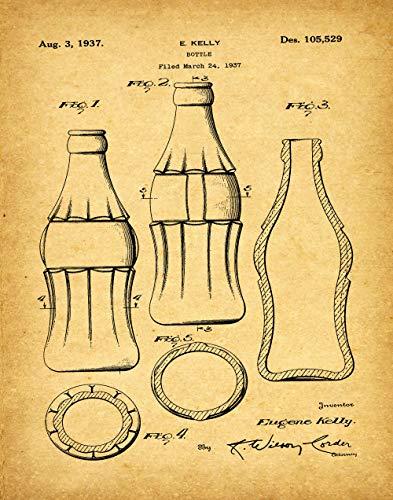 Póster de botella de Coca Cola con diseño de botella de coca-cola 1937 para decoración de bar, arte de pared, botella de refresco, decoración de pub, arte de pared WB105, estilo vintage, 18 x 24