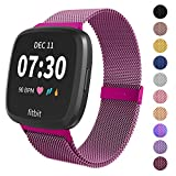 Limque Magnetic Bands Compatible with Fitbit Versa/Versa 2/Versa Lite/SE, Women Men Metal Adjustable Replacement Wristband for Fitbit Versa Smart Watch Multi-Color (Purple, Small)