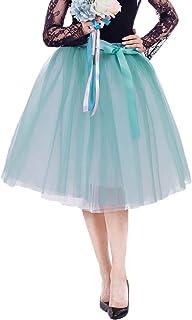Lau's Falda Tul Princesa Mujeres Faldas Midi Fiesta Tutu Ballet Enaguas de Tul con cinturón para Bodas 7 Capas