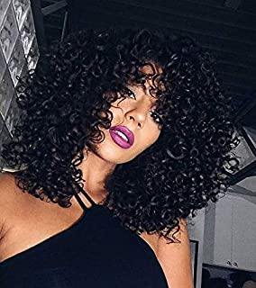 YOPO Short Black Kinky Curly Wig 14'' Afro Kinky Wavy Wigs for Black Women Shoulder Length Synthetic Hair Wig for African American