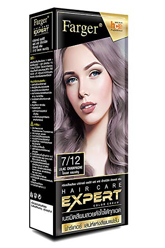 FAREGER X2 Pcs HAIR CARE EXPERT COLOR CREAM 7/12 LILAC CHAMPAGNE Hair Color Permanent Hair Color Dye Beautiful Hair Coloring Experience, Result Unique Healthy Shine & Long last 100% Coverage Hair Dye