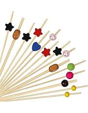 Palillos de Cóctel Multicolor Brochetas de Bambú Palillo de Frutas para Cóctel Cumpleaños Fiesta y Boda Tarta Tapas Aperitivo Canapes Pincho Fruta Decoración 100 Piezas