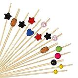 HONGXIN-SHOP Palillos de Cóctel Multicolor Brochetas de Bambú Palillo de Frutas para Có...