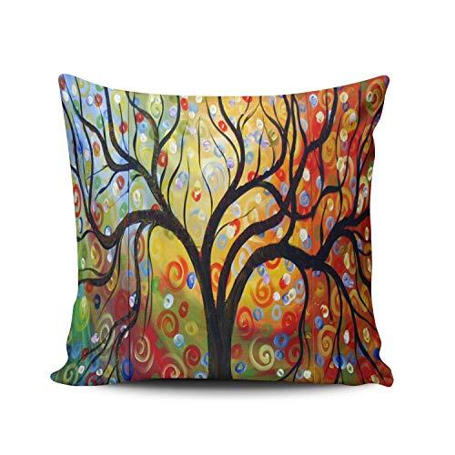 SUN DANCE Fundas de almohada decorativas cuadradas con cremallera, diseño de árbol de amor, con diseño de lunares, 45,7 x 45,7 cm, por un lado