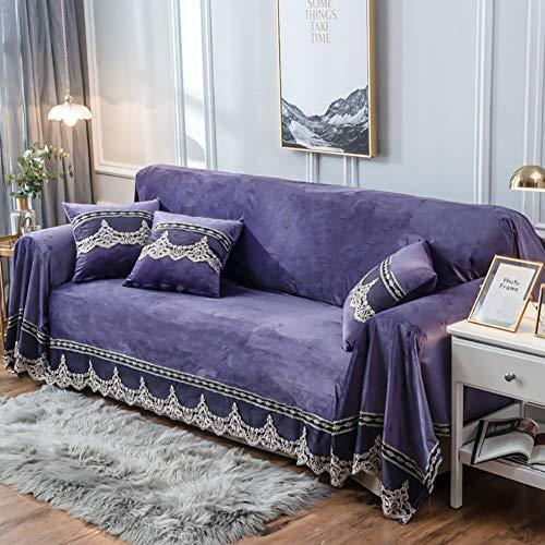 TIYKI Terciopelo Encaje Funda De Sofá,1-Piece Elastic Couch Protector Silla Slipcover con Brazos,Sofá Lavable Cubierta De La Silla Proteger para Mascotas-Púrpura 200x260cm(79x102inch)