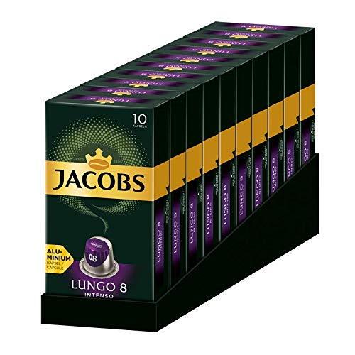 Jacobs Kapseln Lungo Intenso, Intensität 8, 100 Nespresso®* kompatible Kaffeekapseln, 10er Pack, 10 x 10 Getränke