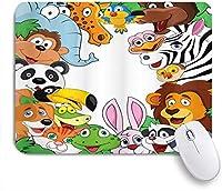 KENADVI マウスパッド 個性的 おしゃれ 柔軟 かわいい ゴム製裏面 ゲーミングマウスパッド PC ノートパソコン オフィス用 デスクマット 滑り止め 耐久性が良い おもしろいパターン (保育園野生のジャングルの動物熱帯の動物の家族のテーマ漫画スタイルの漫画多色で幸せそうな顔)