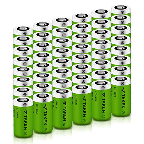 CR123A Lithium Batteries, Taken 1600mAh CR123A 3V Lithium Battery for Flashlight Torch Microphones (48 Pack)