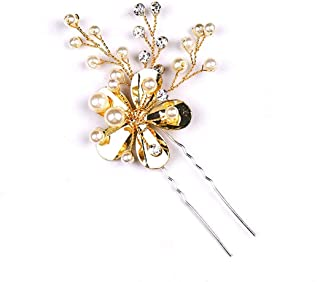 LUKEEXIN Bunny Golden Flower Bun Handmade Tiara Banquet Tiara Accessories 2pcs (Color : Golden)