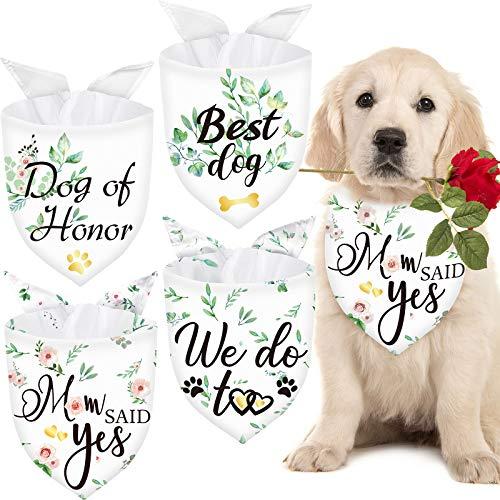 4 Pieces Dog of Honor Bandana Wedding Dog Bandana Bridal Party Pet Scarf Bibs Washable Breathable Dog Wedding Photo Prop Dog Engagement Announcement Dogs Wedding Costume Supply