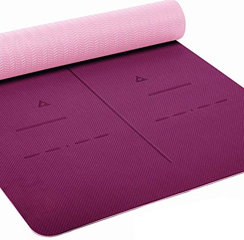 "Heathyoga Eco Friendly Non Slip Yoga Mat, Body Alignment System, SGS Certified TPE Material - Textured Non Slip Surface and Optimal Cushioning,72""x 26"" Thickness 1/4"""