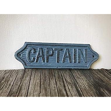 Captain Sign Bathroom Wall Art – Unique Mens Gift - Rustic Blue Grey Nautical Decor - Sailor Theme Cast Iron Plaque