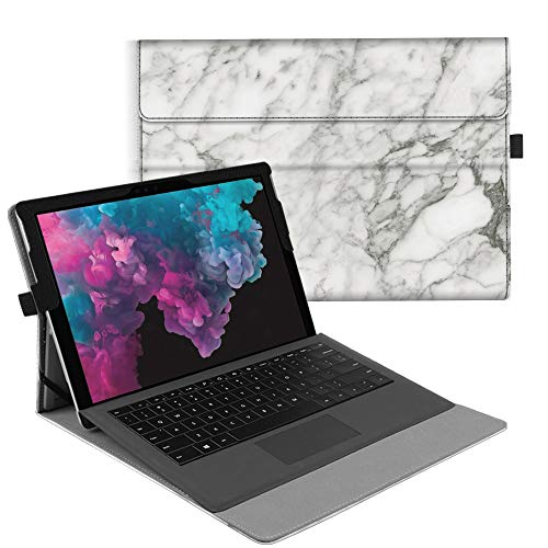 Fintie Case for Microsoft Surface Pro7 / Pro 6 / Pro 5 / Pro 4 / Pro 3 - Multiple Angle Viewing Portfolio Business Cover, Compatible with Type Cover Keyboard, Marble