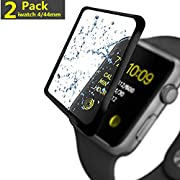 [2-Pack] Apple Watch Serie 4 44MM Screen Protector, hairbowsales [9H Hardness] [Anti-Scratches] [Anti-Fingerprint] Tempered Glass Screen Protector Film Compatible Watch Serie 4 44MM [Black]